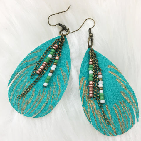 Turquoise Feather Vegan Leather Earrings - Native Mermaid Boutique