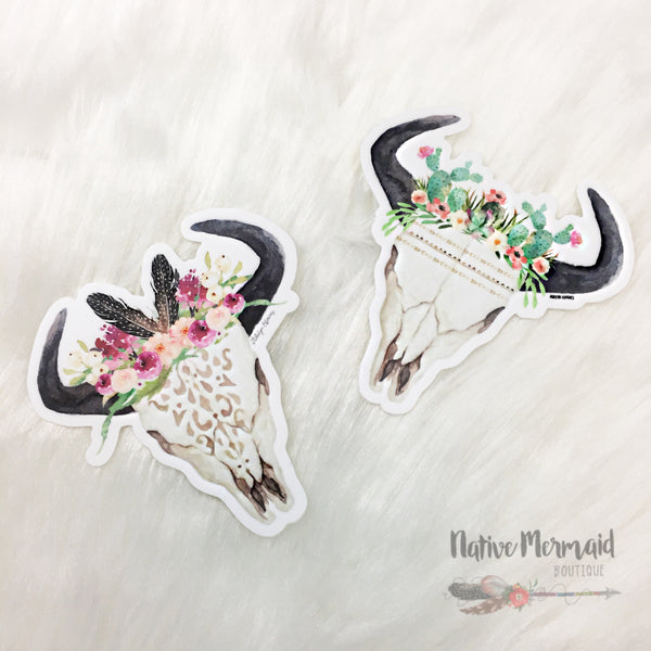 Cactus Queen Bull Skull Sticker - Native Mermaid Boutique
