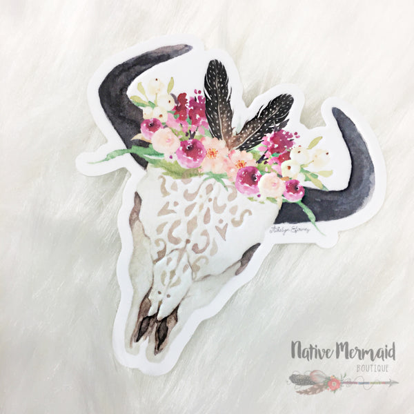 Boho Babe Bull Skull Sticker - Native Mermaid Boutique