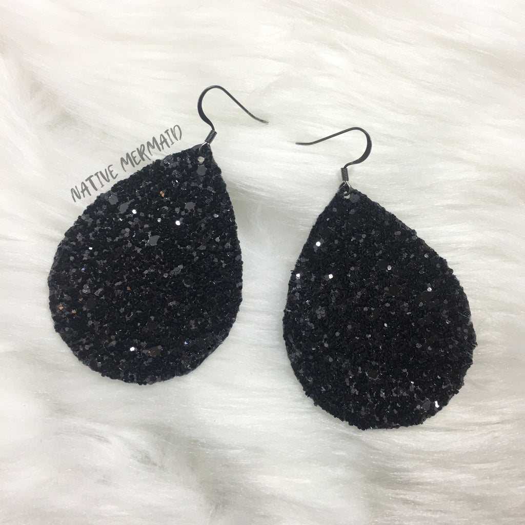 Black Chunky Glitter Earrings - Native Mermaid Boutique