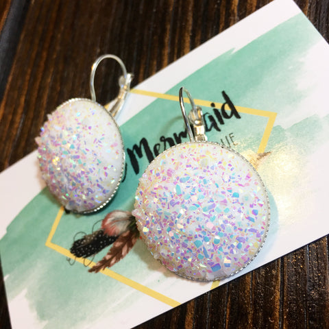 White Opal Druzy Earrings - Native Mermaid Boutique