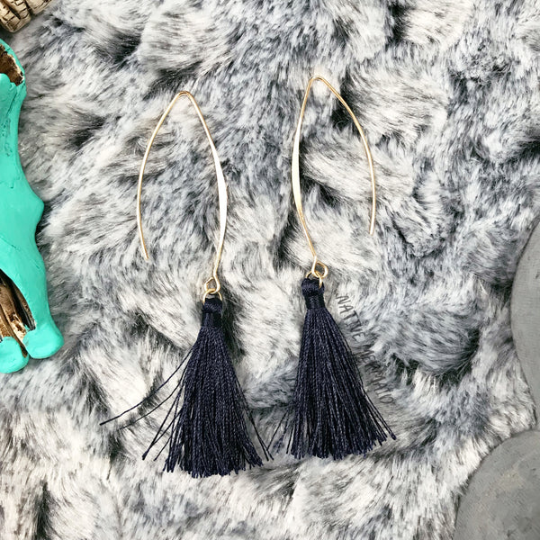 Navy Tassel Earrings - Native Mermaid Boutique