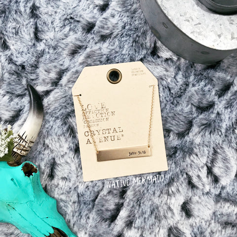 John 3:16 Bar Necklace - Native Mermaid Boutique