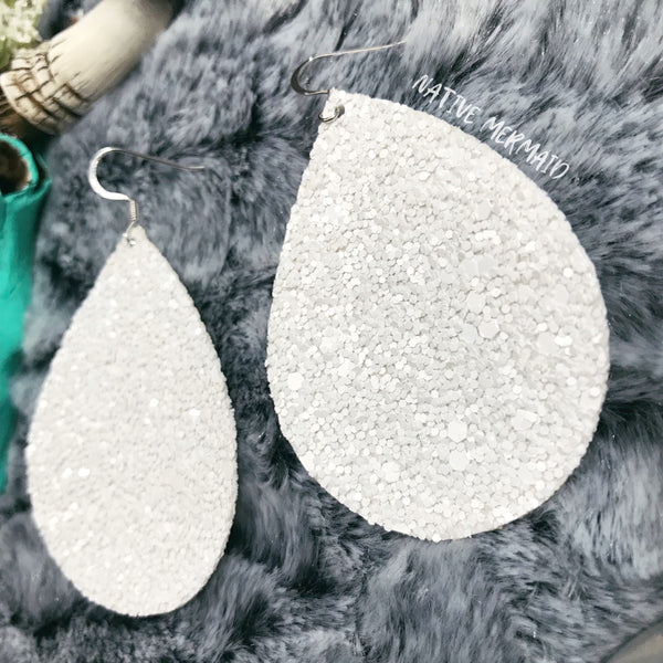 White Glitter Earrings - Native Mermaid Boutique