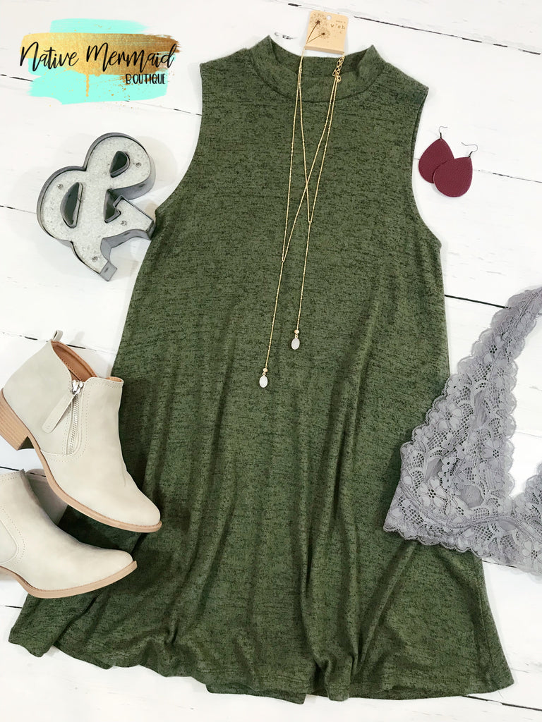 Olive Mock Neck Tunic - Native Mermaid Boutique