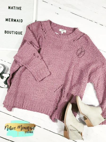 Distressed Sweater - Native Mermaid Boutique