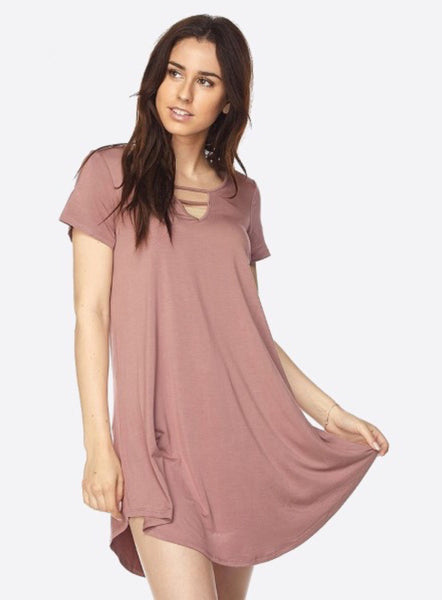 Mauve Caged Neck Dress - Native Mermaid Boutique