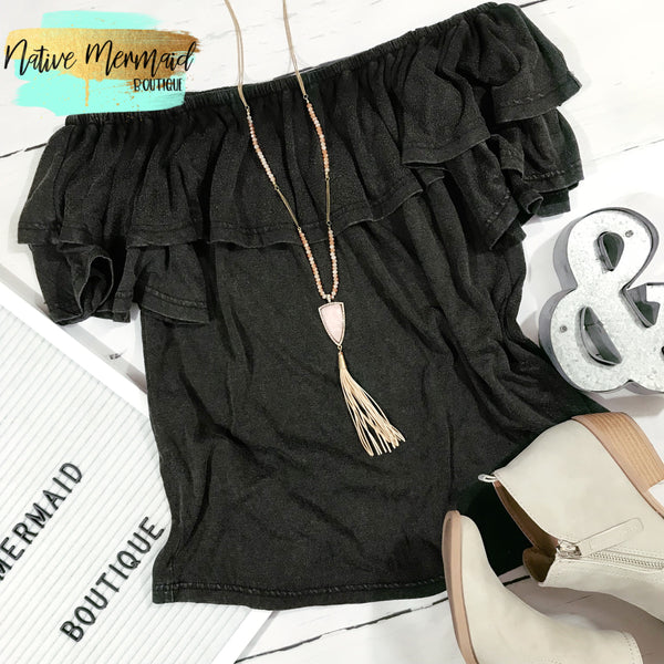 Charcoal Off The Shoulder Top - Native Mermaid Boutique