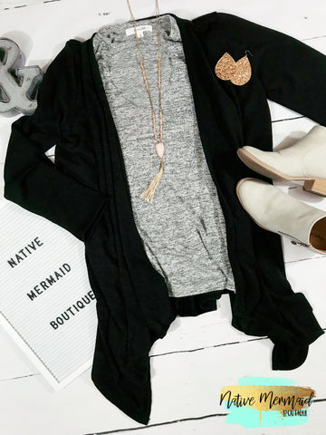 Black Fall Cardigan - Native Mermaid Boutique