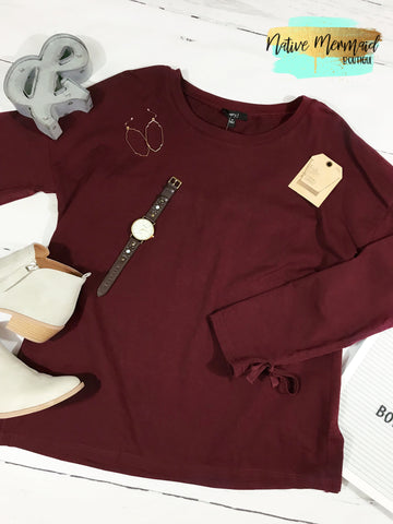 Burgundy Tie Up Top - Native Mermaid Boutique