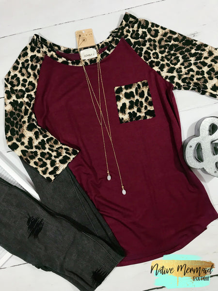 Leopard Print Baseball Tee - Native Mermaid Boutique