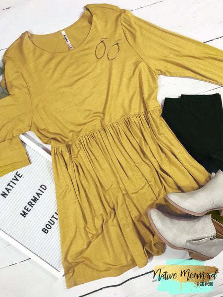 Mustard Babydoll Tunic - Native Mermaid Boutique