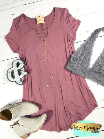 Mauve Caged Neck Dress