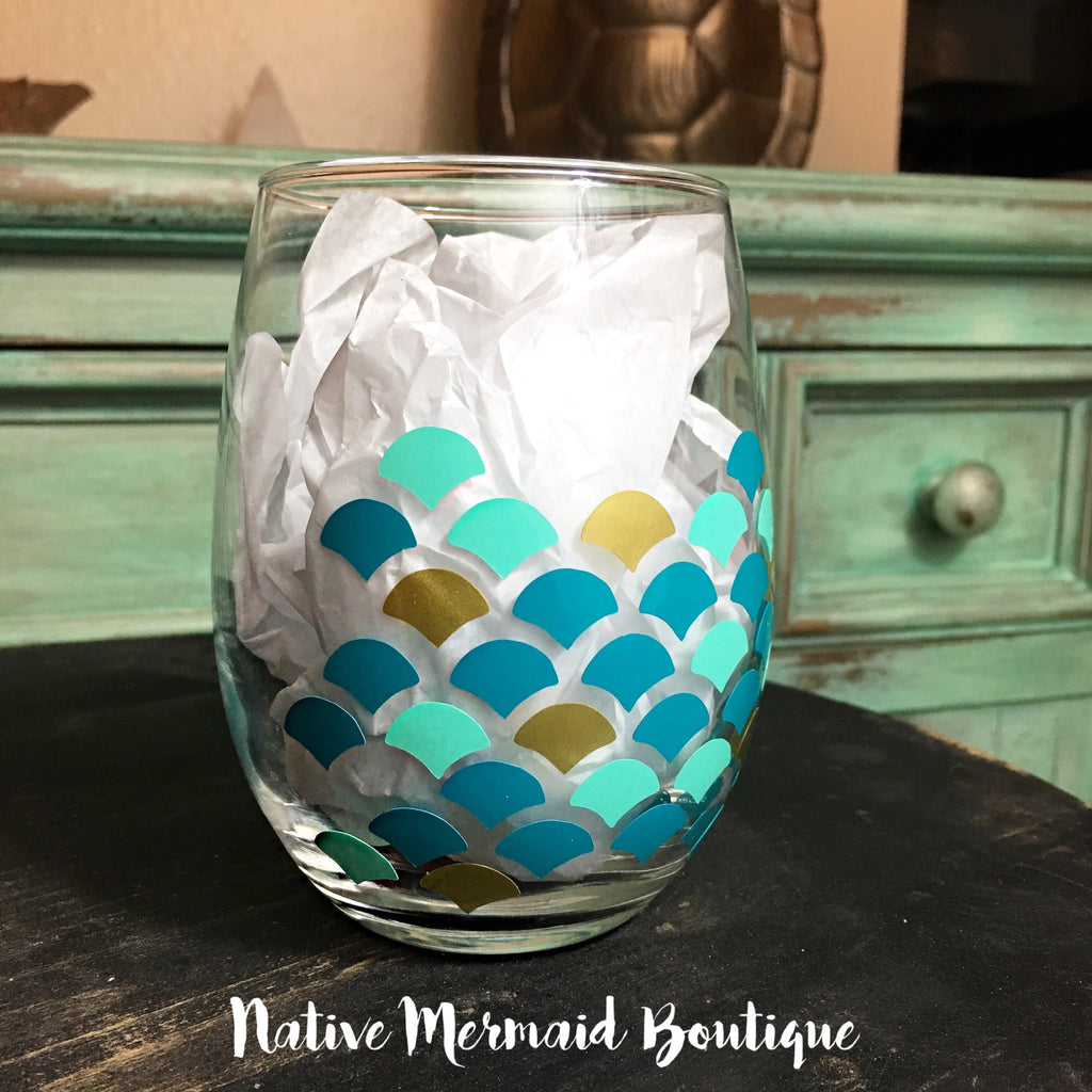 Mermaid Scale Wine Glass - Native Mermaid Boutique