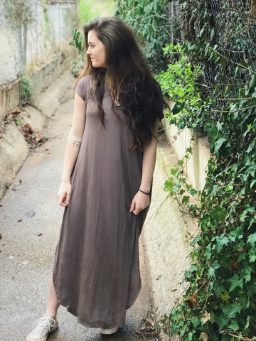 Shiitake Vneck Maxi Dress