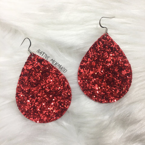 Red Glitter Earrings