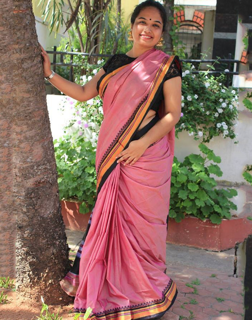 Pink Ilkal Handloom Silk Cotton Saree