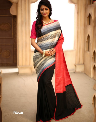 Printed pure silk in front with pure silk pink pallu & black slub silk on pleats