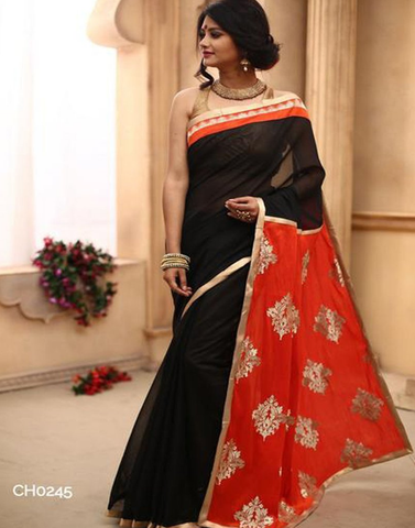 Black chanderi with elegant zari work pallu & golden zari border