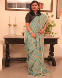 Blue Checkered Pure Linen Handloom Saree