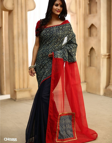 Ajrakh print on chanderi with red chanderi pallu with mantra patch & dark blue chanderi pleats