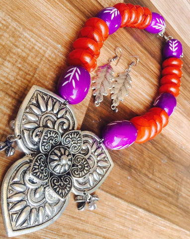 Orange Beads Set with Flower pendent