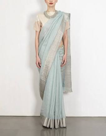 Aqua Blue Pure Linen Handloom Saree