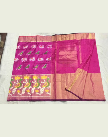Barbie Pink Pure Ikkat Silk Saree