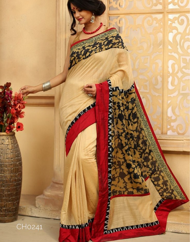 Beige Chanderi with abstract printed chanderi on pallu & border together with ikat border