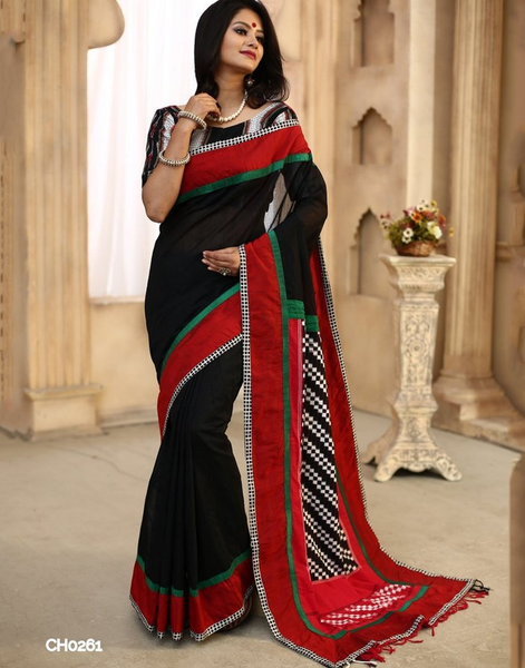Black chanderi with jodhupuri work pallu