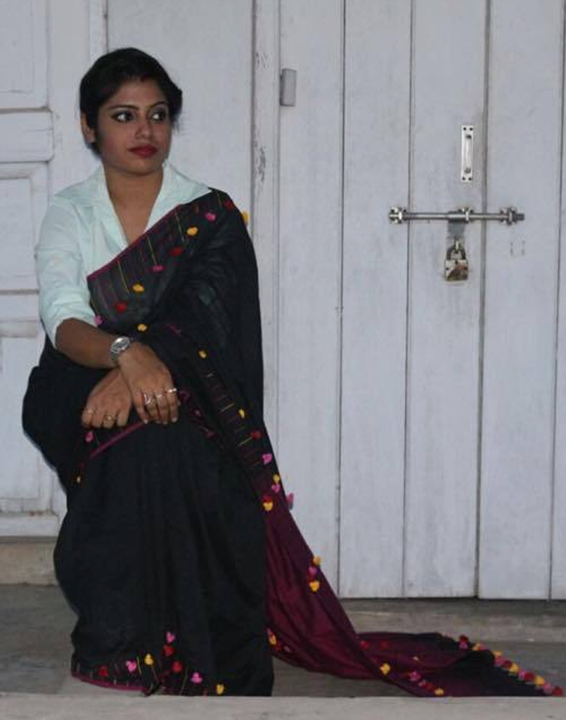 Black Pure Muslin Handloom Saree