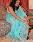 Blue Linen Tusar Saree