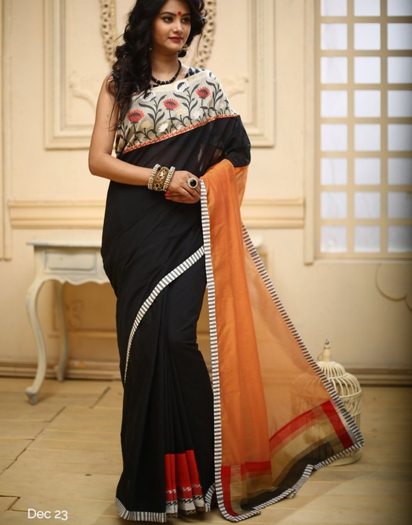 Combination of Black & Orange chanderi with woven floral border