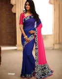 Combination of pink & blue chanderi with indigo border & patch on pallu