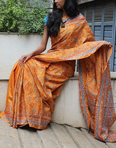 Mustard Yellow Hand Embroidered Kantha Silk Saree