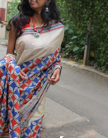 Offwhite Hand Embroidered Kantha Silk Saree