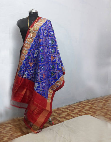 Royal Blue with Red border ikkat Silk Dupatta