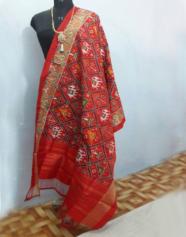 Red with elephant motifs ikkat Silk Dupatta