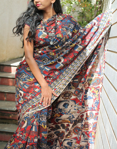 Maroon cotton kalamkari saree