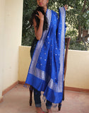 Blue Banarasi Dupion Dupatta with small buttis
