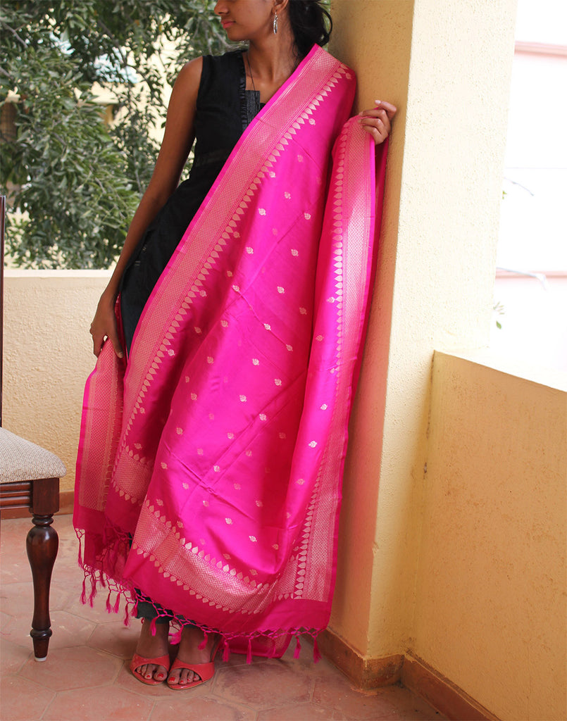 Hot Pink Banarasi Dupion Dupatta with small buttis