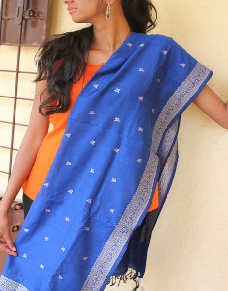 Royal Blue Banarasi Dupion Dupatta with small buttis