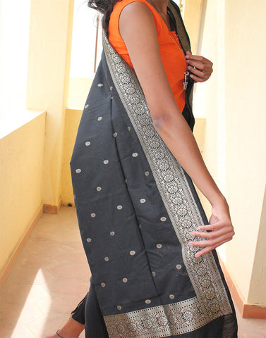 Black Banarasi Dupion Dupatta with small buttis