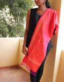 Orange Banarasi Dupion Stole with small buttis
