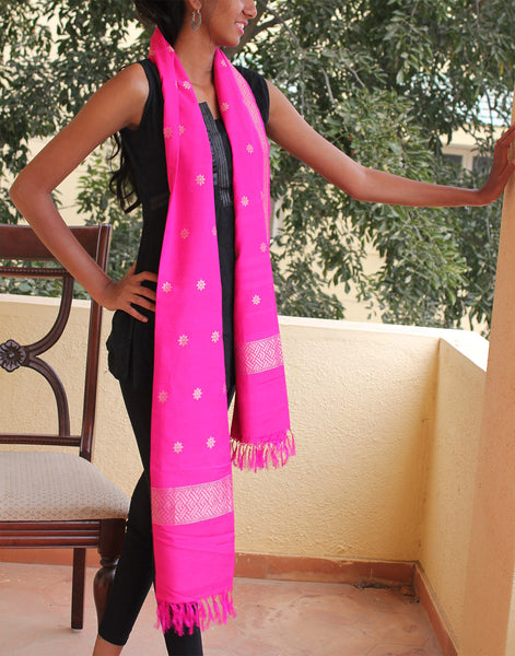 Pink Banarasi Dupion Stole with small buttis