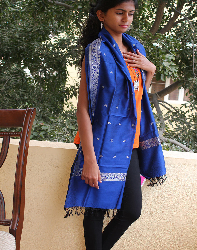 Blue Banarasi Dupion Stole with small buttis