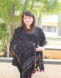 Blue  Kutch Silk Stole with small buttis