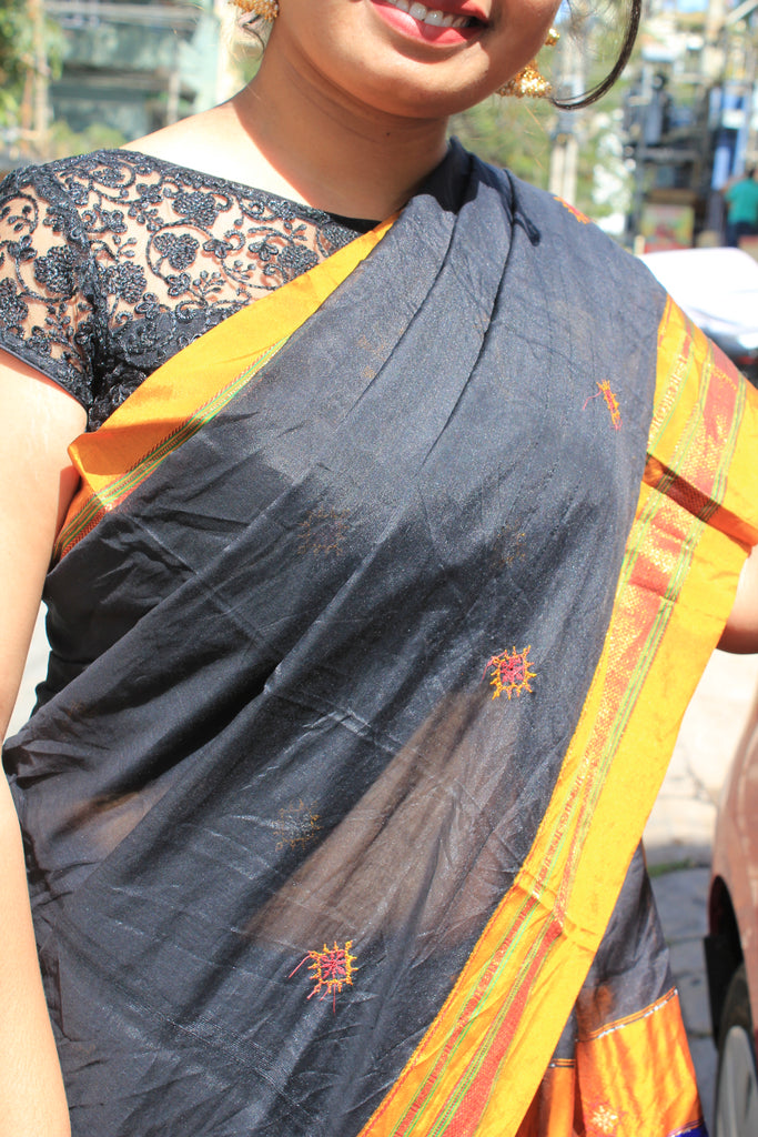 Black Kasauti Handloom Silk Cotton Saree
