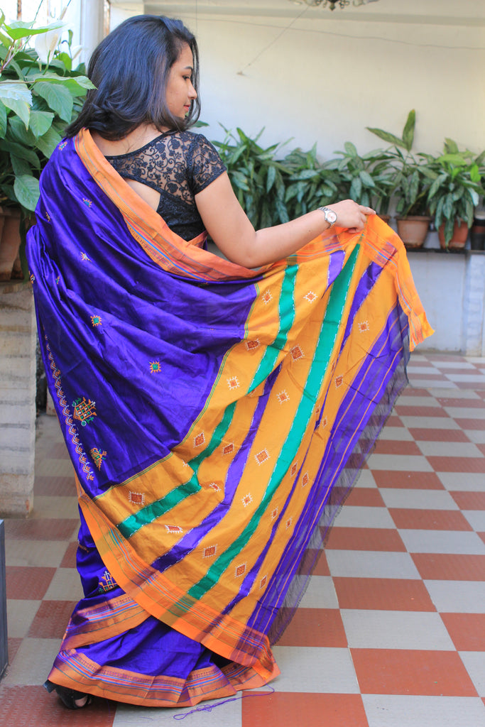 Rich Blue Kasauti Handloom Silk Cotton Saree
