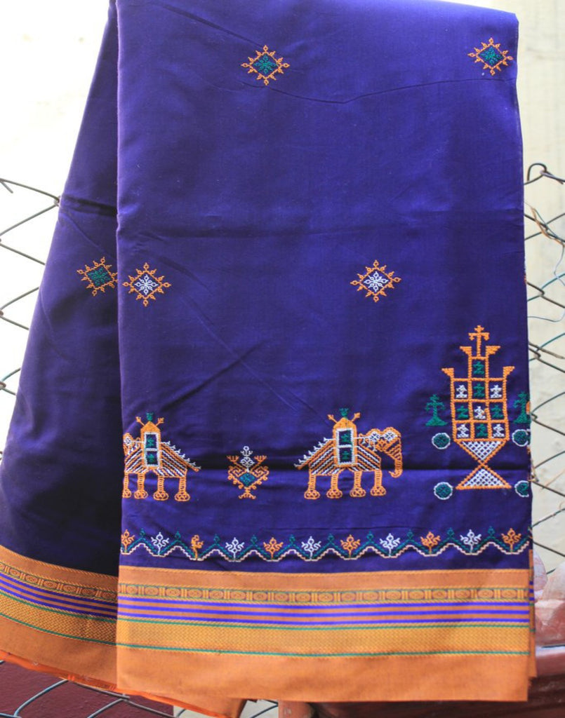 Ink Blue Kasauti Handloom Silk Cotton Saree